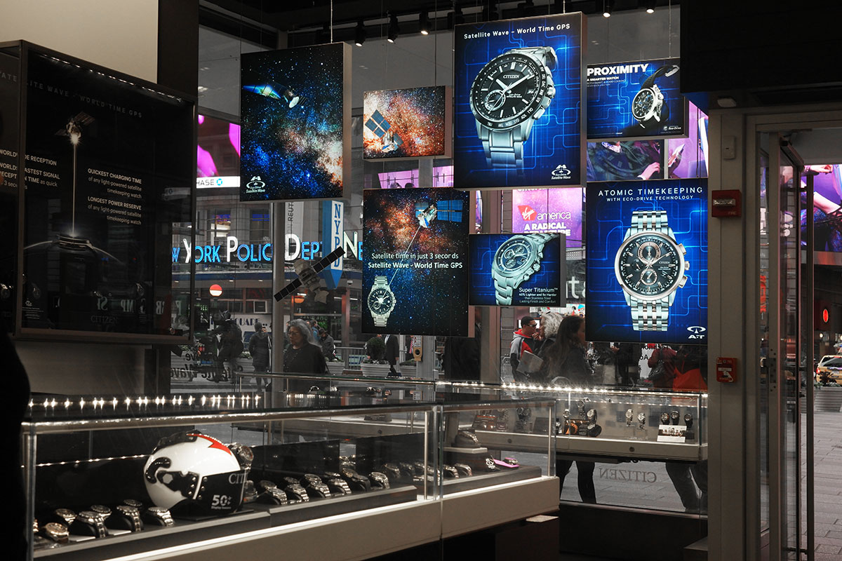 Backlit fabric graphics for Citizen watch retail store in Times Square.