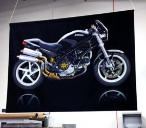 Fabric dye sub print of Ducati motorcycle