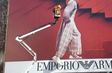 Installing Armani billboard with 3D printed shoe