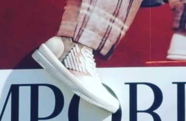 3D printed shoe on Armani billboard