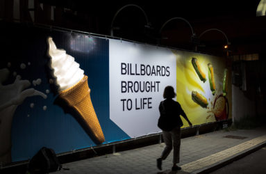 Billboard with backlit 3D objects
