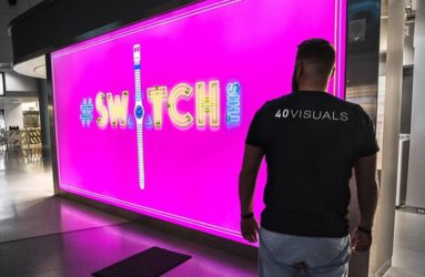 Pink fabric lightbox for Swatch Las Vegas retail store
