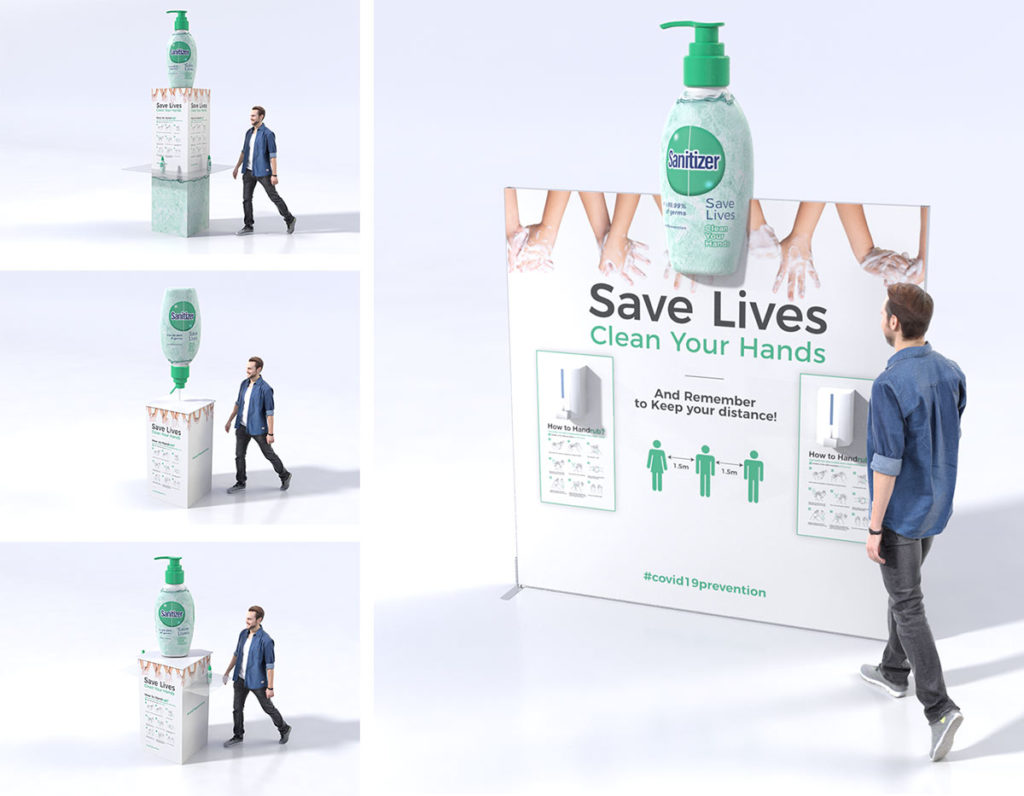 Branded hand sanitizer dispenser stations for businesses
